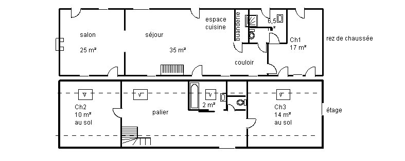plan de maison 2 chambres salon cuisine douche. Black Bedroom Furniture Sets. Home Design Ideas